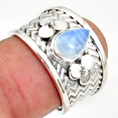 2.12cts natural rainbow moonstone 925 silver solitaire ring size 7 r34495