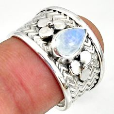 2.13cts natural rainbow moonstone 925 silver solitaire ring size 7 r34499