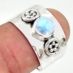 1.40cts natural rainbow moonstone 925 silver solitaire ring size 7 r34638