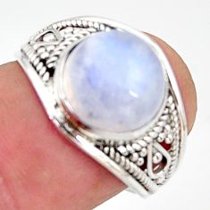 5.22cts natural rainbow moonstone 925 silver solitaire ring size 7 r35439
