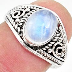 3.01cts natural rainbow moonstone 925 silver solitaire ring size 7 r35853