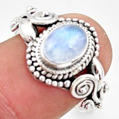 1.94cts natural rainbow moonstone 925 silver solitaire ring size 7 r35921