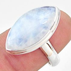 14.23cts natural rainbow moonstone 925 silver solitaire ring size 7 r37715