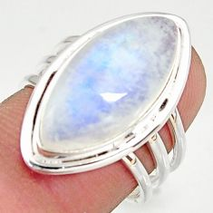 14.26cts natural rainbow moonstone 925 silver solitaire ring size 7 r37758