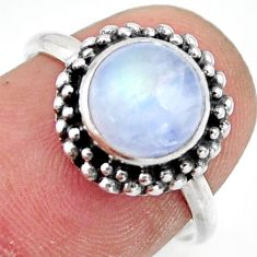 3.15cts natural rainbow moonstone 925 silver solitaire ring size 7 r41385