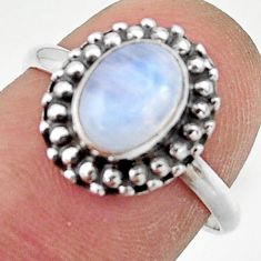 2.42cts natural rainbow moonstone 925 silver solitaire ring size 7 r41457