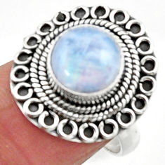 4.92cts natural rainbow moonstone 925 silver solitaire ring size 7 r52521