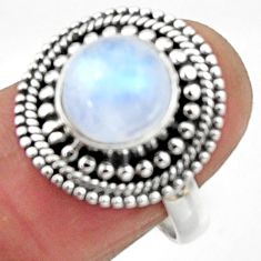 4.94cts natural rainbow moonstone 925 silver solitaire ring size 7 r52539