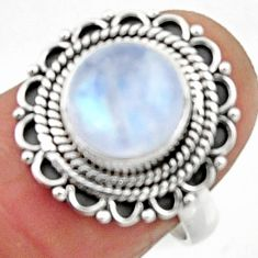 4.68cts natural rainbow moonstone 925 silver solitaire ring size 7 r52542