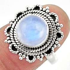 4.69cts natural rainbow moonstone 925 silver solitaire ring size 7 r52558