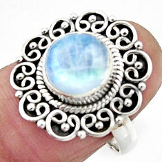 4.68cts natural rainbow moonstone 925 silver solitaire ring size 7 r52580