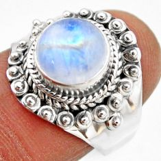 4.69cts natural rainbow moonstone 925 silver solitaire ring size 7 r53628