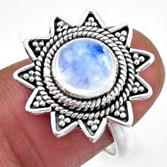 3.02cts natural rainbow moonstone 925 silver solitaire ring size 7 r54336