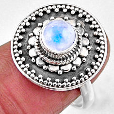 1.17cts natural rainbow moonstone 925 silver solitaire ring size 7 r54379
