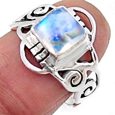 2.97cts natural rainbow moonstone 925 silver solitaire ring size 7 r54436