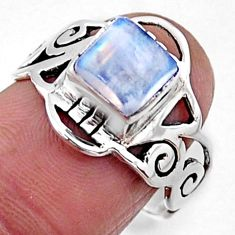 2.81cts natural rainbow moonstone 925 silver solitaire ring size 7 r54437