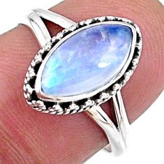 2.60cts natural rainbow moonstone 925 silver solitaire ring size 7 r57417