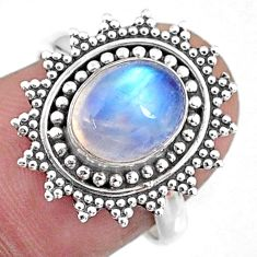 3.04cts natural rainbow moonstone 925 silver solitaire ring size 7 r57459