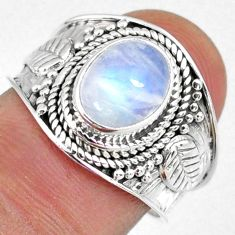 3.11cts natural rainbow moonstone 925 silver solitaire ring size 7 r58349