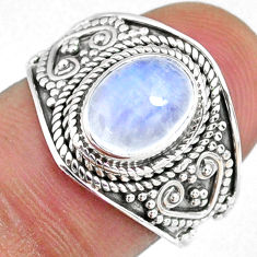 3.25cts natural rainbow moonstone 925 silver solitaire ring size 7 r58355