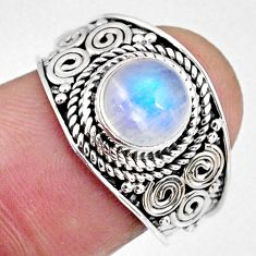 2.73cts natural rainbow moonstone 925 silver solitaire ring size 7 r58619