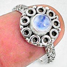 1.00cts natural rainbow moonstone 925 silver solitaire ring size 7 r64800