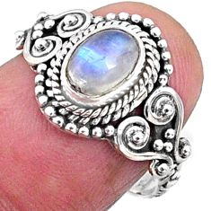 1.43cts natural rainbow moonstone 925 silver solitaire ring size 7 r64940