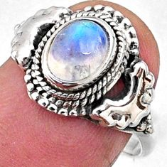2.08cts natural rainbow moonstone 925 silver solitaire ring size 7 r64972