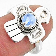 1.00cts natural rainbow moonstone 925 silver solitaire ring size 7 r67396