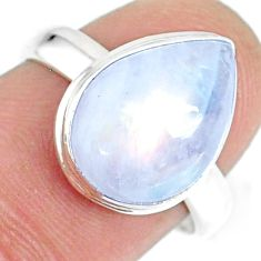 5.09cts natural rainbow moonstone silver solitaire handmade ring size 7 r74083