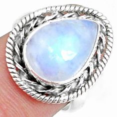6.35cts natural rainbow moonstone silver solitaire handmade ring size 7 r74109