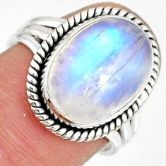 6.04cts natural rainbow moonstone 925 silver solitaire ring size 7 r76341