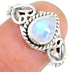 2.13cts natural rainbow moonstone 925 silver solitaire ring size 7 r82144