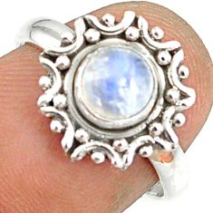 1.22cts natural rainbow moonstone 925 silver solitaire ring size 7 r82175