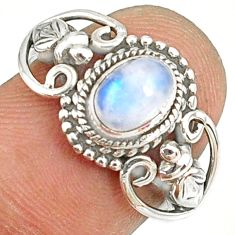 1.51cts natural rainbow moonstone 925 silver solitaire ring size 7 r82177