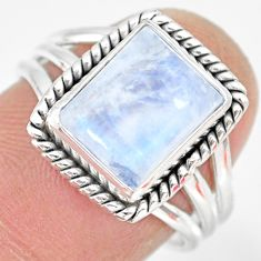 4.38cts natural rainbow moonstone 925 silver solitaire ring size 7 r83282