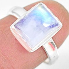 4.51cts natural rainbow moonstone 925 silver solitaire ring size 7 r83283