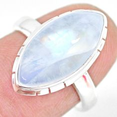 7.97cts natural rainbow moonstone 925 silver solitaire ring size 7 r83288