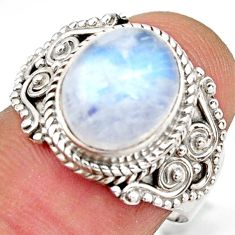 5.31cts natural rainbow moonstone 925 silver solitaire ring size 8 d46236