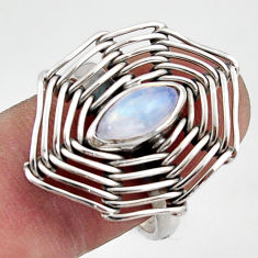 2.46cts natural rainbow moonstone 925 silver solitaire ring size 8 d47517