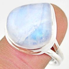 13.07cts natural rainbow moonstone 925 silver solitaire ring size 8 r21481