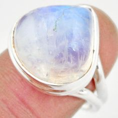 11.02cts natural rainbow moonstone 925 silver solitaire ring size 8 r21482