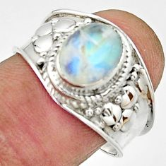 3.01cts natural rainbow moonstone 925 silver solitaire ring size 8 r22499