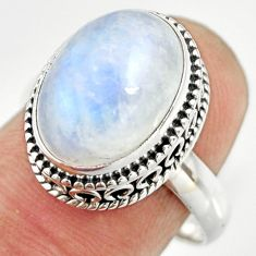 6.90cts natural rainbow moonstone 925 silver solitaire ring size 8 r26313