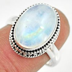 6.46cts natural rainbow moonstone 925 silver solitaire ring size 8 r26319