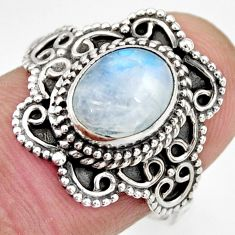 3.01cts natural rainbow moonstone 925 silver solitaire ring size 8 r26979