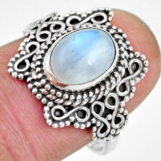 3.10cts natural rainbow moonstone 925 silver solitaire ring size 8 r26997