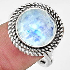 7.02cts natural rainbow moonstone 925 silver solitaire ring size 8 r33395