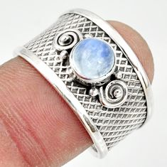1.27cts natural rainbow moonstone 925 silver solitaire ring size 8 r34675