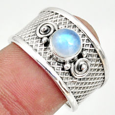 1.28cts natural rainbow moonstone 925 silver solitaire ring size 8 r34676